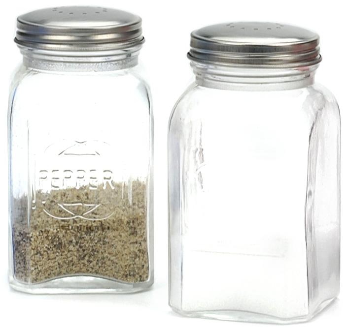 RSVP Retro Clear Glass Salt and Pepper Shaker Set