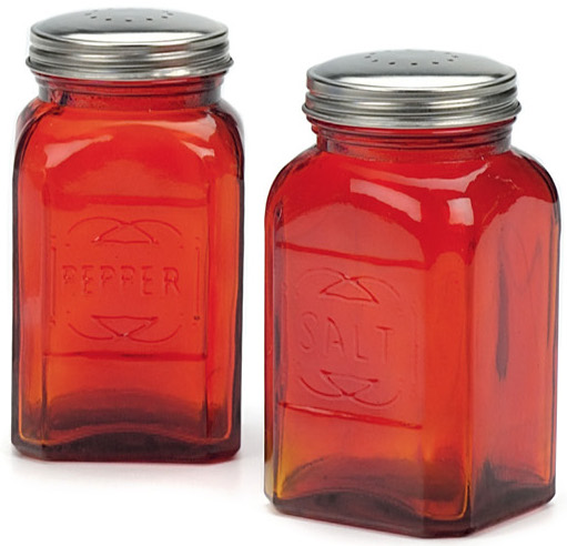 RSVP Retro Red Glass Salt and Pepper Shaker Set