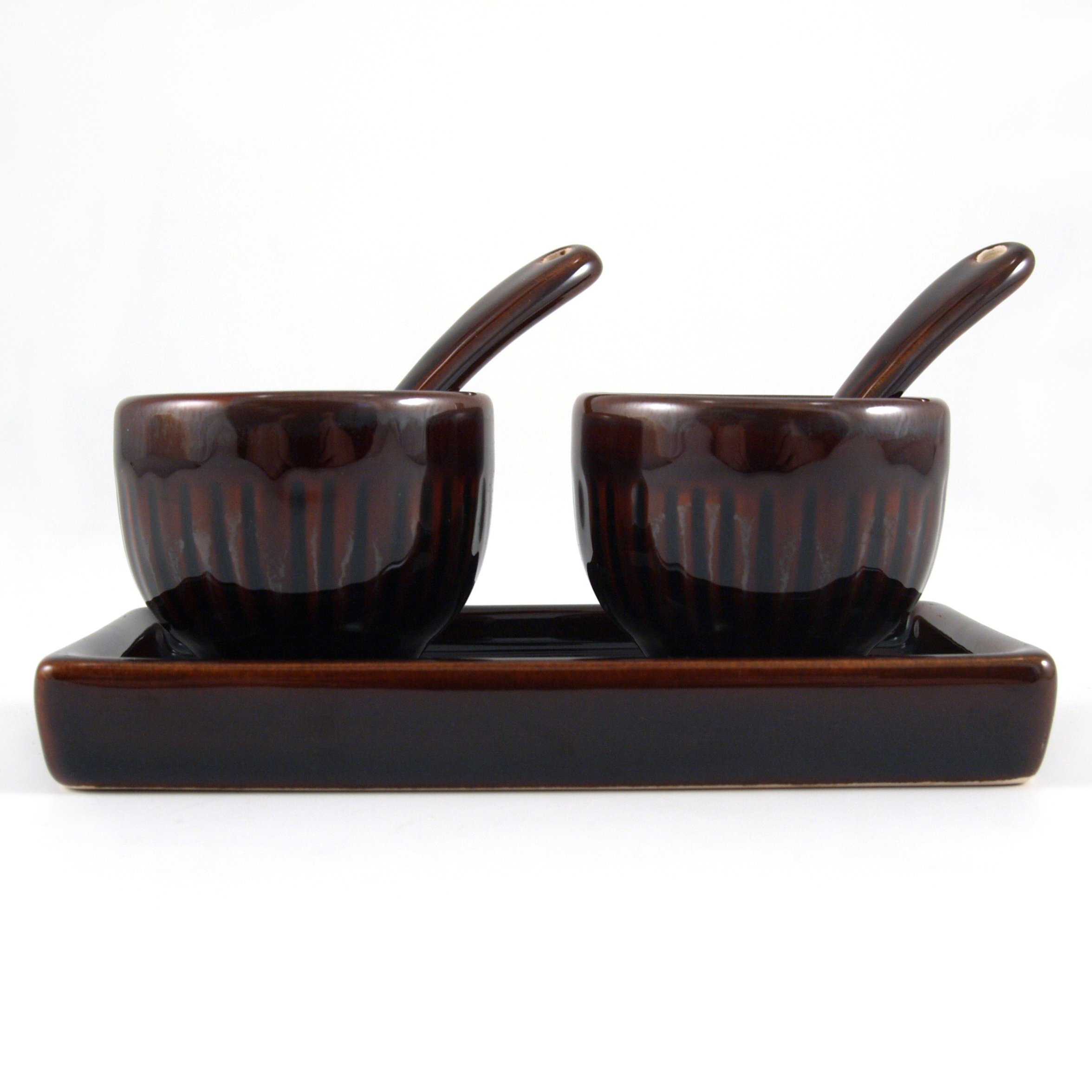 Zak Design 5 Piece Brown Stoneware Salt and Pepper Set