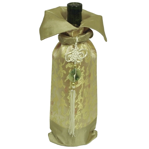 Metallic Gold and Asian Symbols Wine Bottle Bag with Tassel