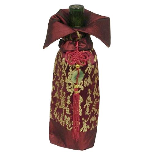 Metallic Burgundy and Asian Symbols Wine Bottle Bag with Tassel