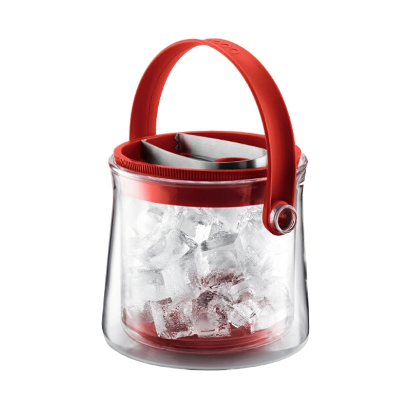 Bodum Cool Double Wall Glass Ice Bucket in Red