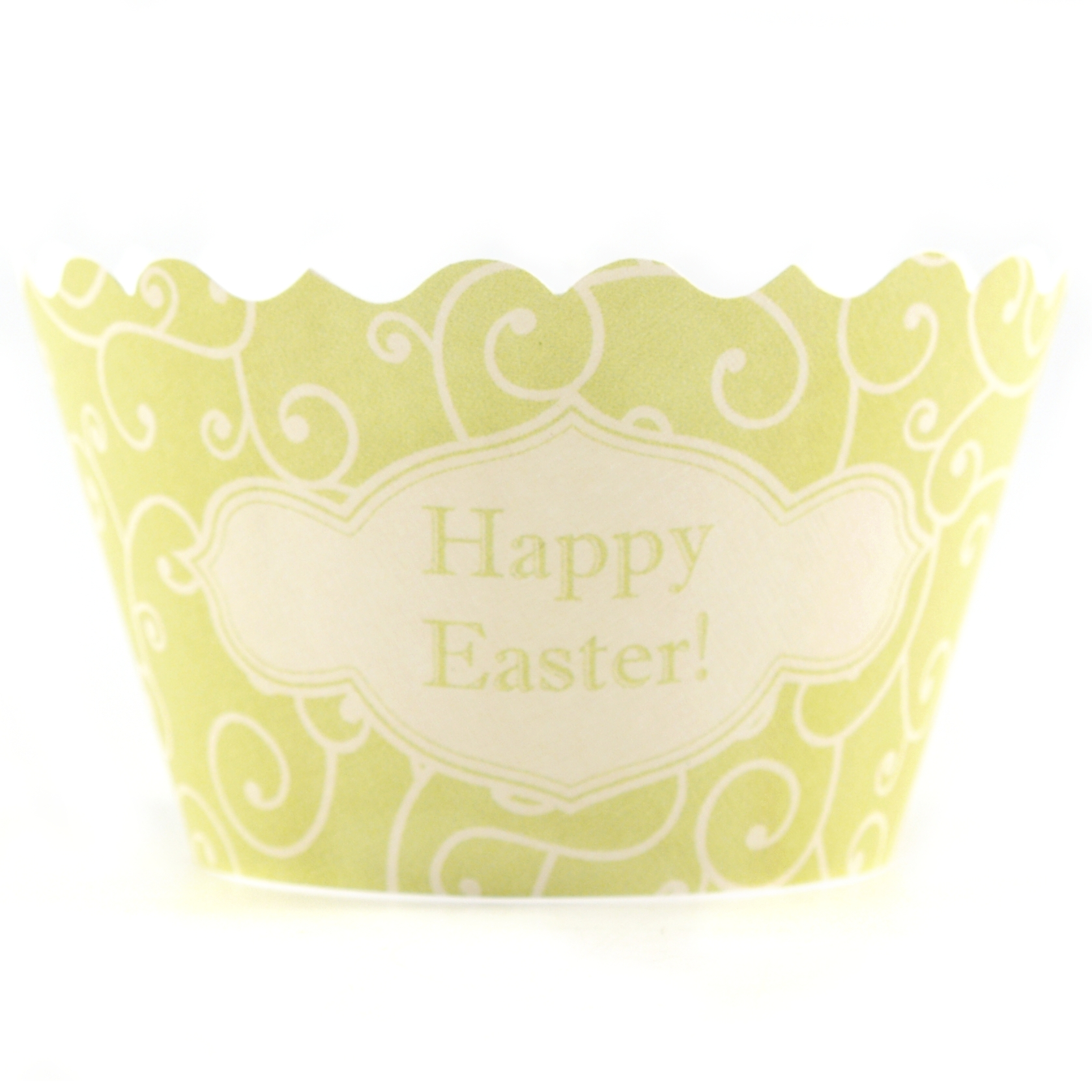 Bella Cupcake Couture Olivia Chartreuse and Yellow Happy Easter Cupcake Wrapper, Set of 12