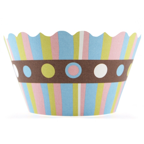 Bella Cupcake Couture Charlotte Stripes with Polkadots Cupcake Wrapper, Set of 12