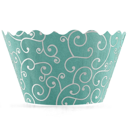 Bella Cupcake Couture Olivia Sea Blue Cupcake Wrapper, Set of 12