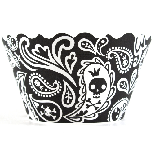 Bella Cupcake Couture Zoe Skulls and Crossbones Cupcake Wrapper, Set of 12