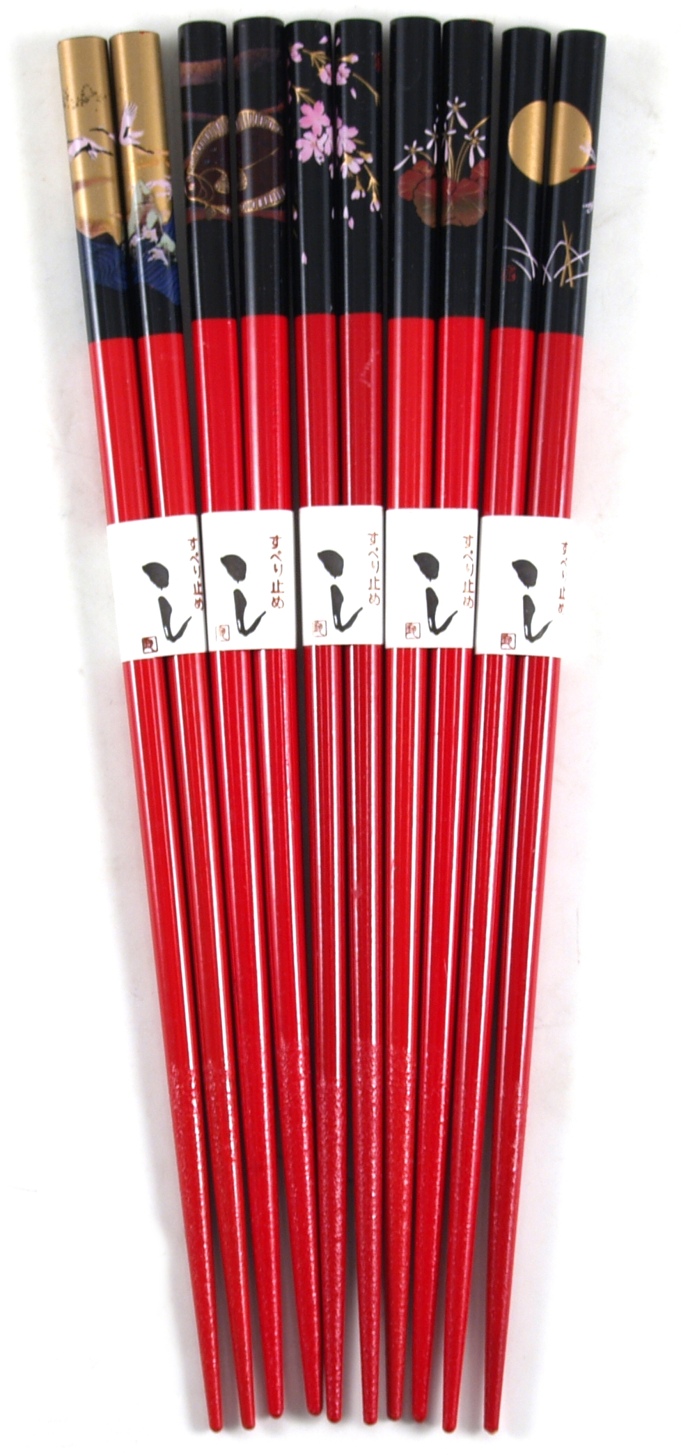 Asian Red Bamboo Chopsticks, 5 Pair