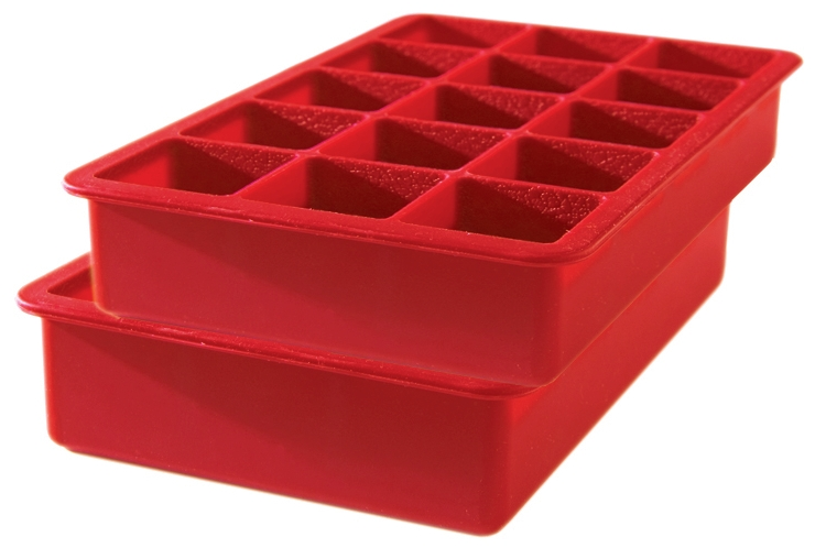 Tovolo Red Silicone Perfect Cube Ice Tray, Set of 2
