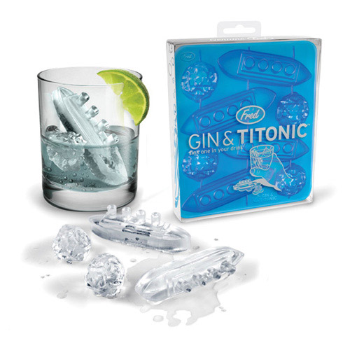 Fred and Friends Gin & Titonic Ocean Liner Iceberg Blue Silicone Ice Cube Tray