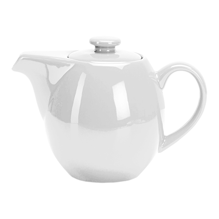 OmniWare Teaz White Stoneware 24 Ounce Teapot with Stainless Steel Mesh Infuser