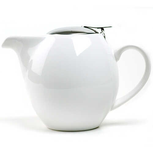 OmniWare Teaz White Stoneware Lillkin 34 Ounce Teapot with Stainless Steel Mesh Infuser