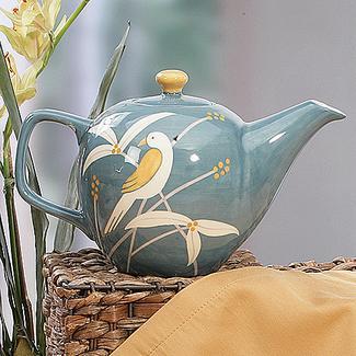 Light Blue Birds Ceramic 42 oz . Teapot