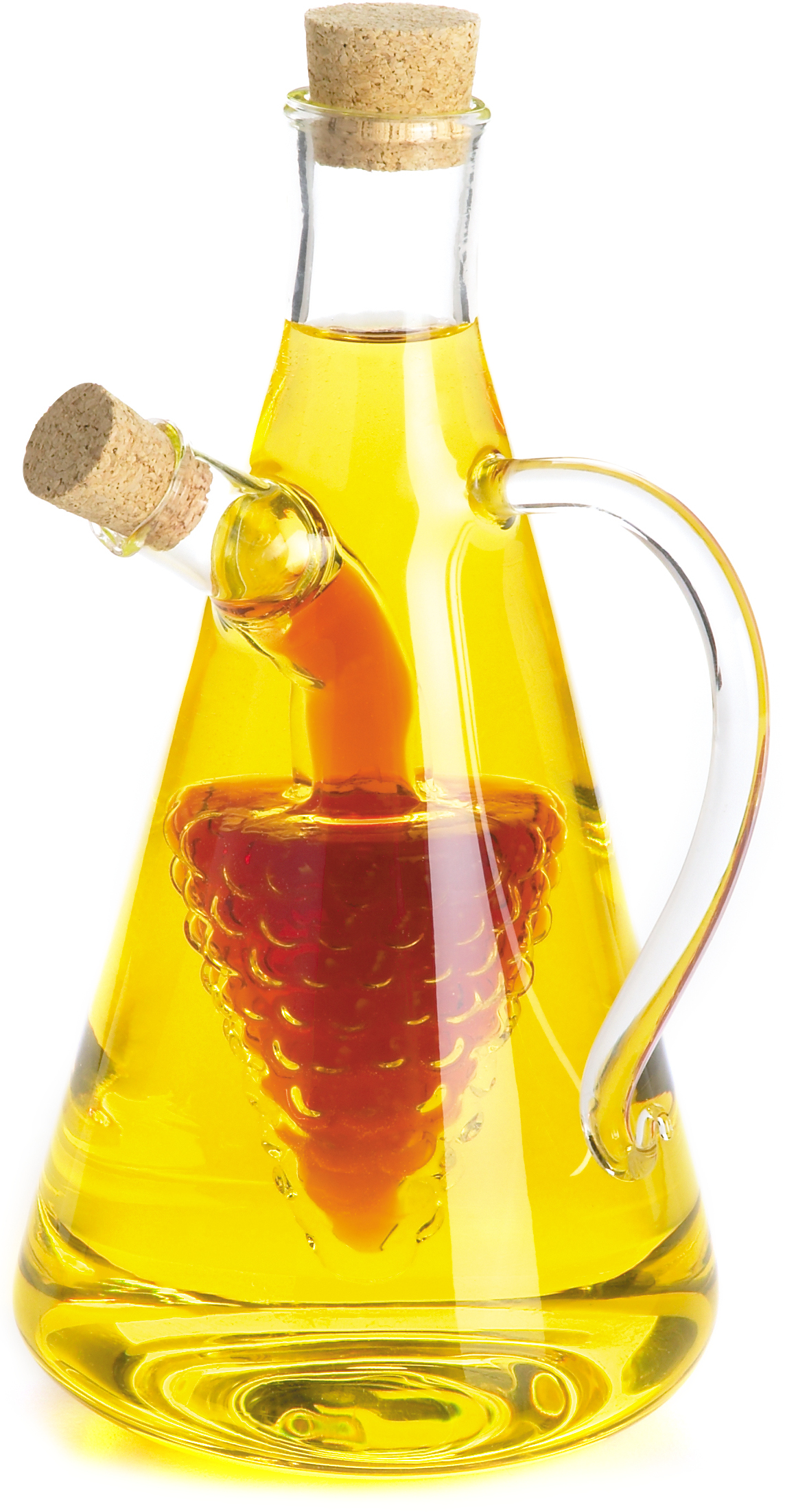 Fox Run 2-in-1 Glass Grapes Oil and Vinegar Bottle with Handle, 7 Inch