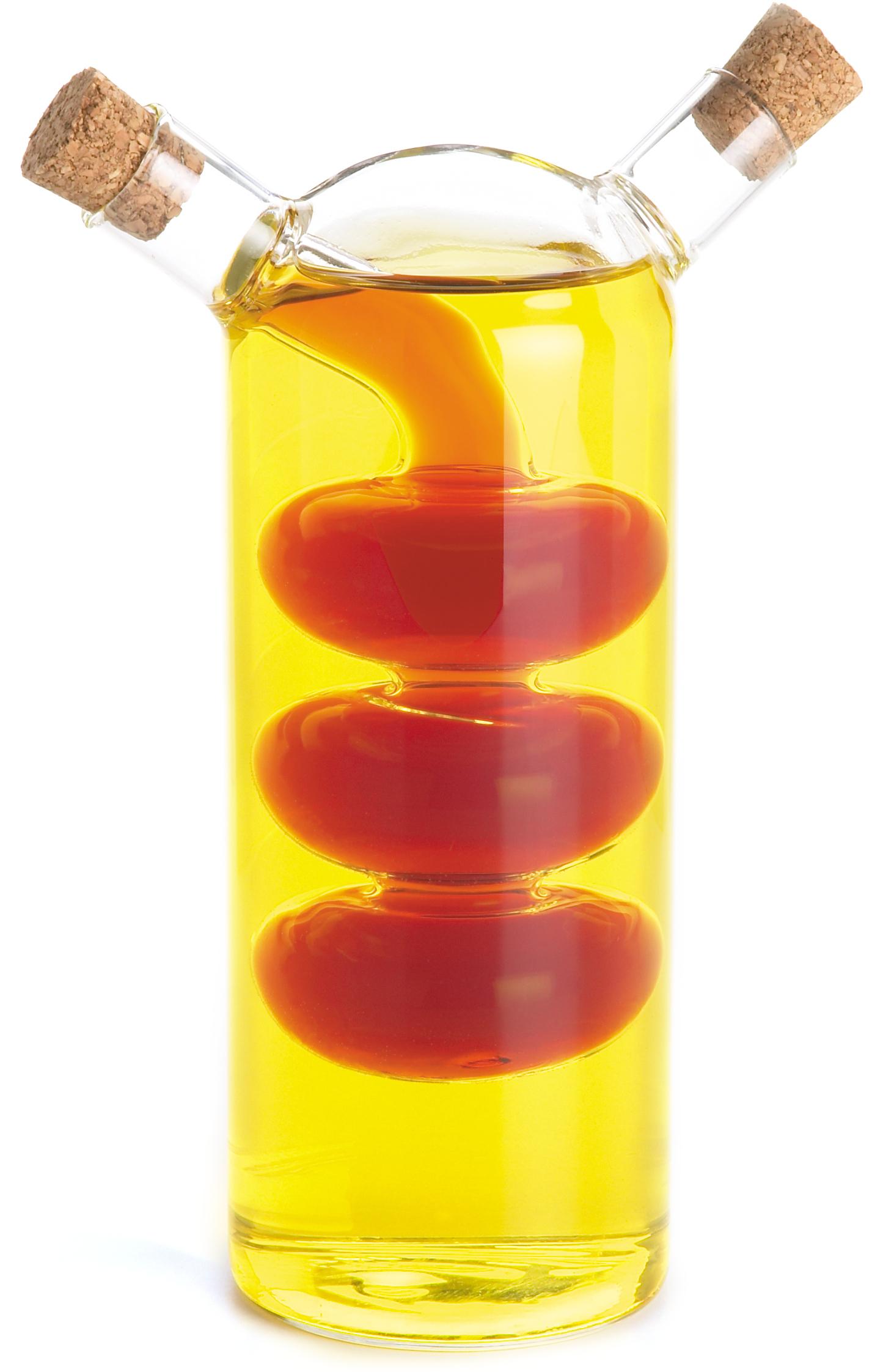 Fox Run 2-in-1 Glass Bubbles Oil and Vinegar Bottle, 7 Inch