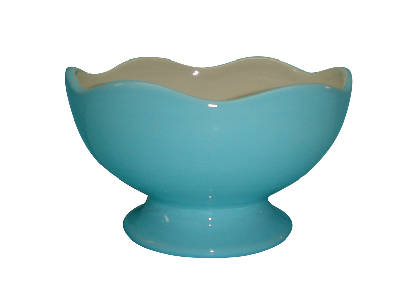 Talisman Designs Ceramic Scalloped Edge Blue and White Entertaining Pedestal Bowl
