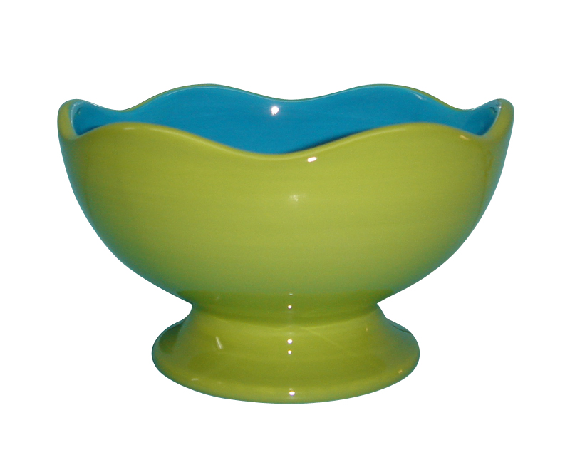 Talisman Designs Ceramic Scalloped Edge Green and Blue Entertaining Pedestal Bowl