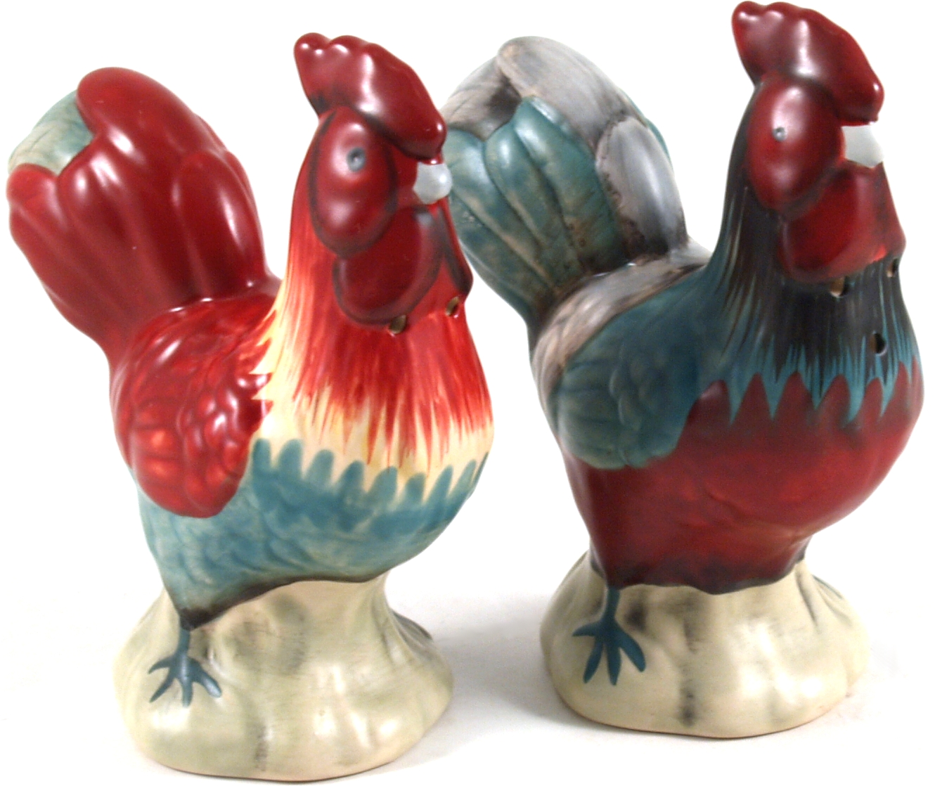 Ceramic Red Roosters Salt and Pepper Shaker Set, 2 Piece