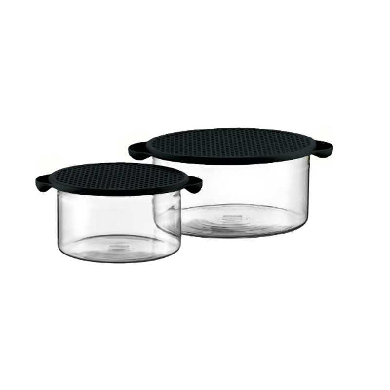 Bodum Hot Pot 2 Piece Glass Bowl Set with Black Silicone Lids