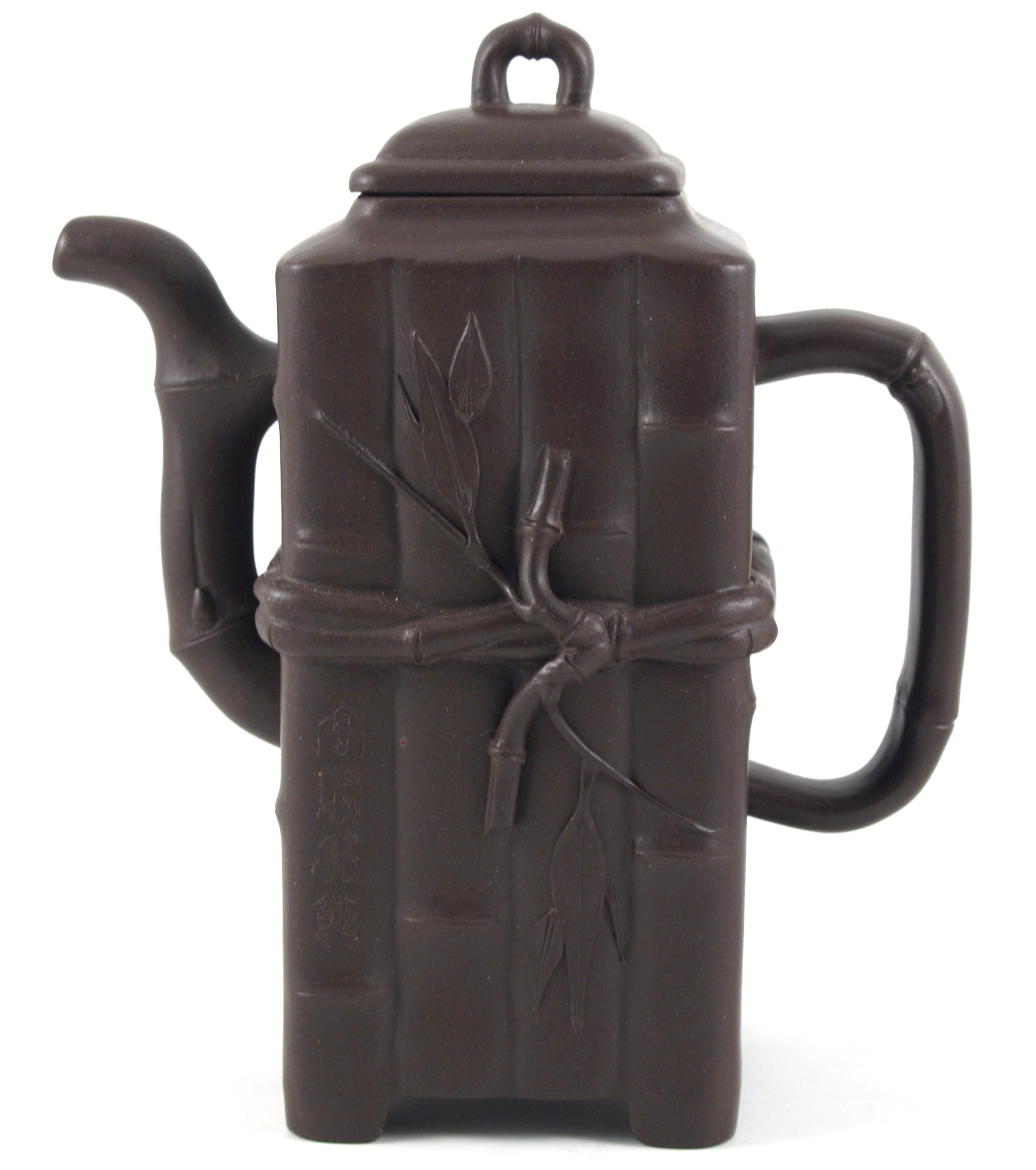 Yixing Clay Zisha Tall Bamboo Design Teapot 12 Ounce