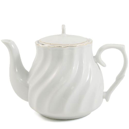 Decorative Porcelain Teapot with Gold Leaf Edging