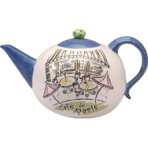 French Paris Cafe Bistro Large Ceramic Teapot