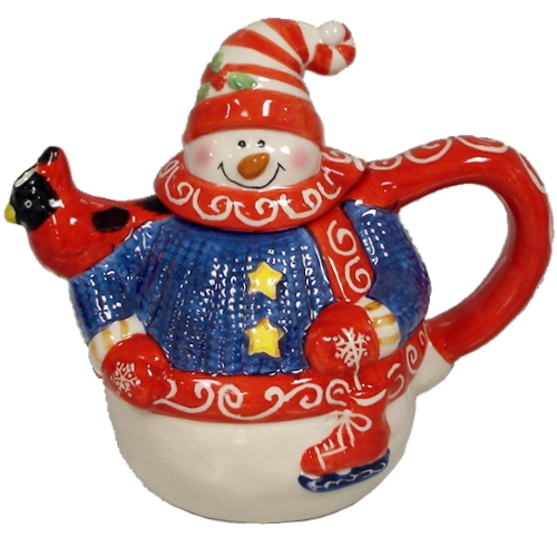 Ceramic Snowman Christmas Holiday Teapot