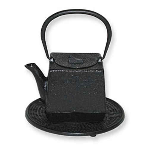 Japanese Tetsubin Cast Iron Black Square Teapot