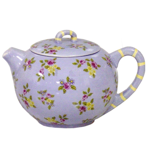 Lavender Hand Painted Floral 6 Cup Ceramic Teapot