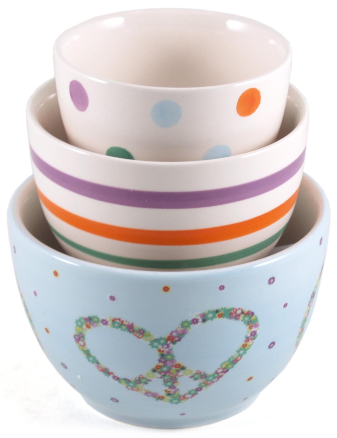 Boston Warehouse Peaceful Garden Earthenware Bowl, Set of 3