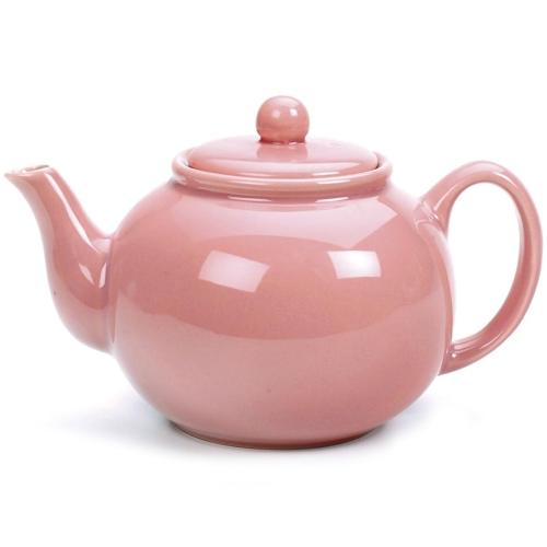 RSVP Pink 6 Cup Stoneware Chai Teapot