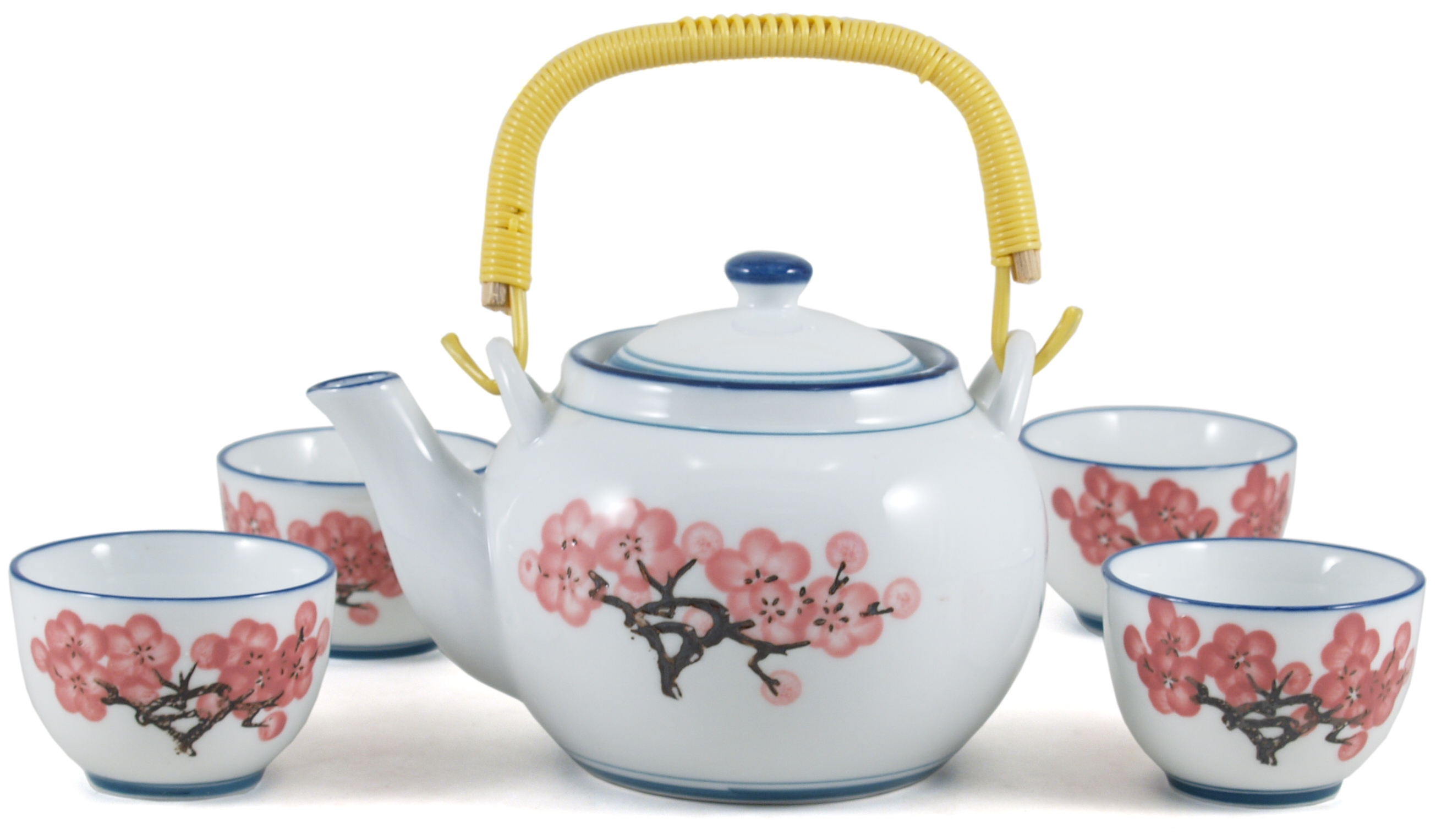 Japanese Cherry Blossom Teapot & 4 Cups, 5 Piece Set