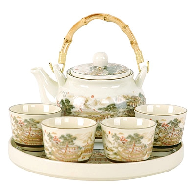 Asian Landscape 6pc Teapot set with Tray