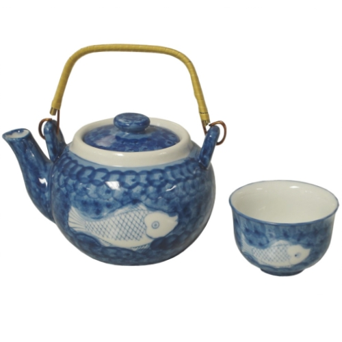 Blue Chinese Fish Teapot & 5 Cups Set