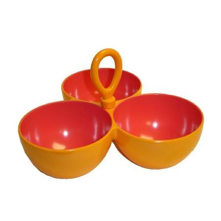 Retro Melamine Orange and Pink Triple Snack Bowl and Dip Sever Set