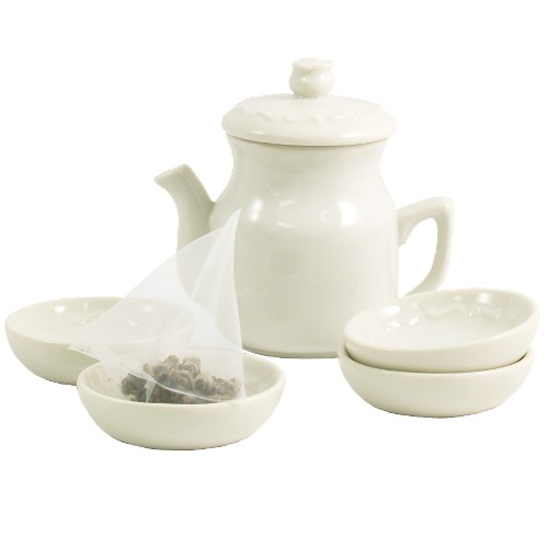 Lindley 5 Piece Ivory Porcelain Tea Jar and Caddy Set