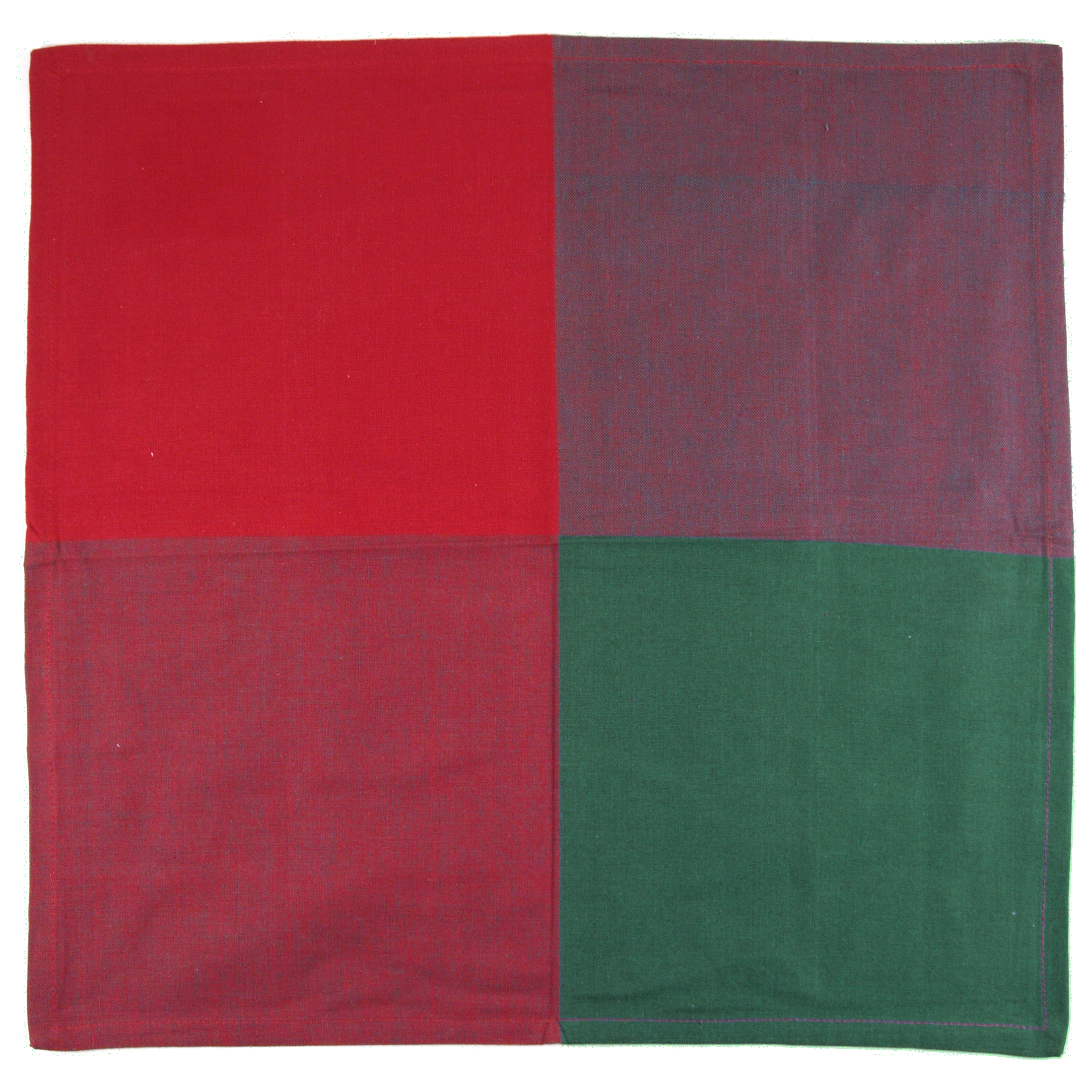 Red and Green Two-tone 100% Cotton Dinner Napkins, Set of 12