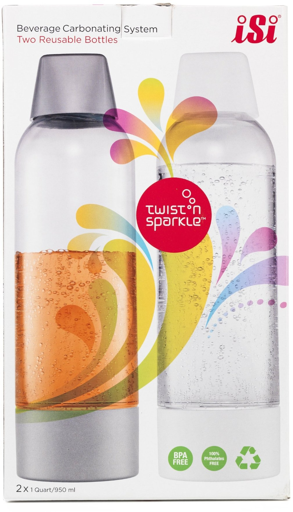 iSi Twist N Sparkle Carbonating System Reusable Bottle, Set of 2