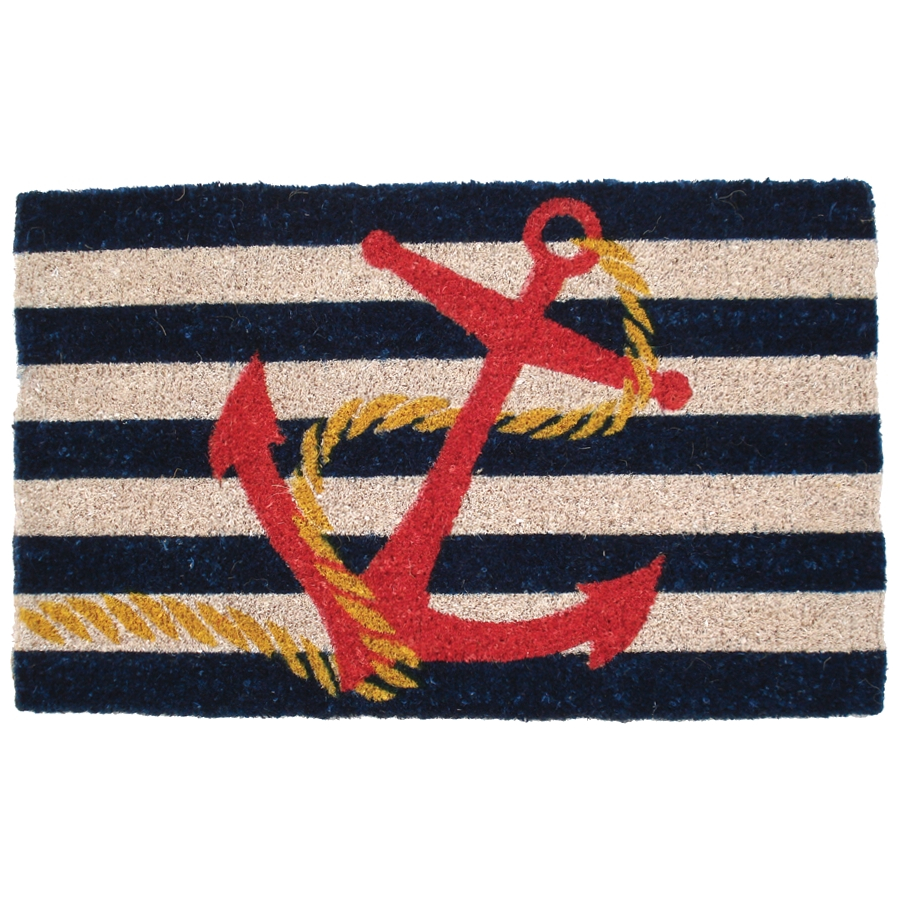 Entryways Anchor Hand Woven Coir Nautical Theme Doormat
