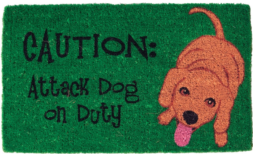Attack Dog Green Mid-Thickness Hand Woven Coir Doormat, 18 x 30 Inch