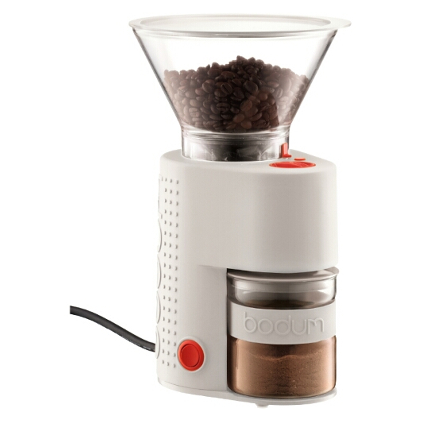Bodum Bistro White Electric Burr Coffee Grinder