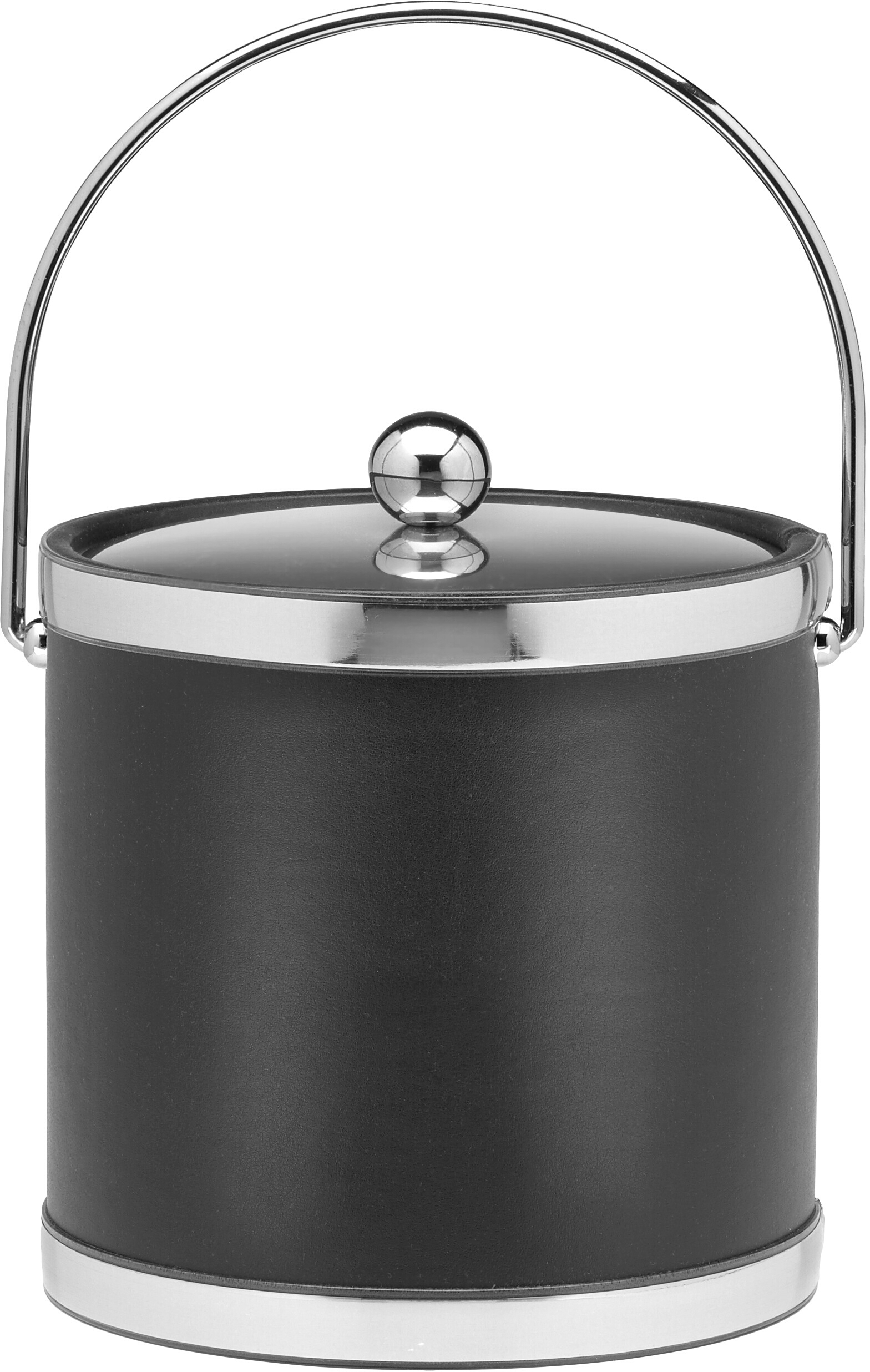 Kraftware Sophisticates Collection Black With Polished Chrome 3 Quart Ice Bucket With Metal Cover, Bands And Bale Handle