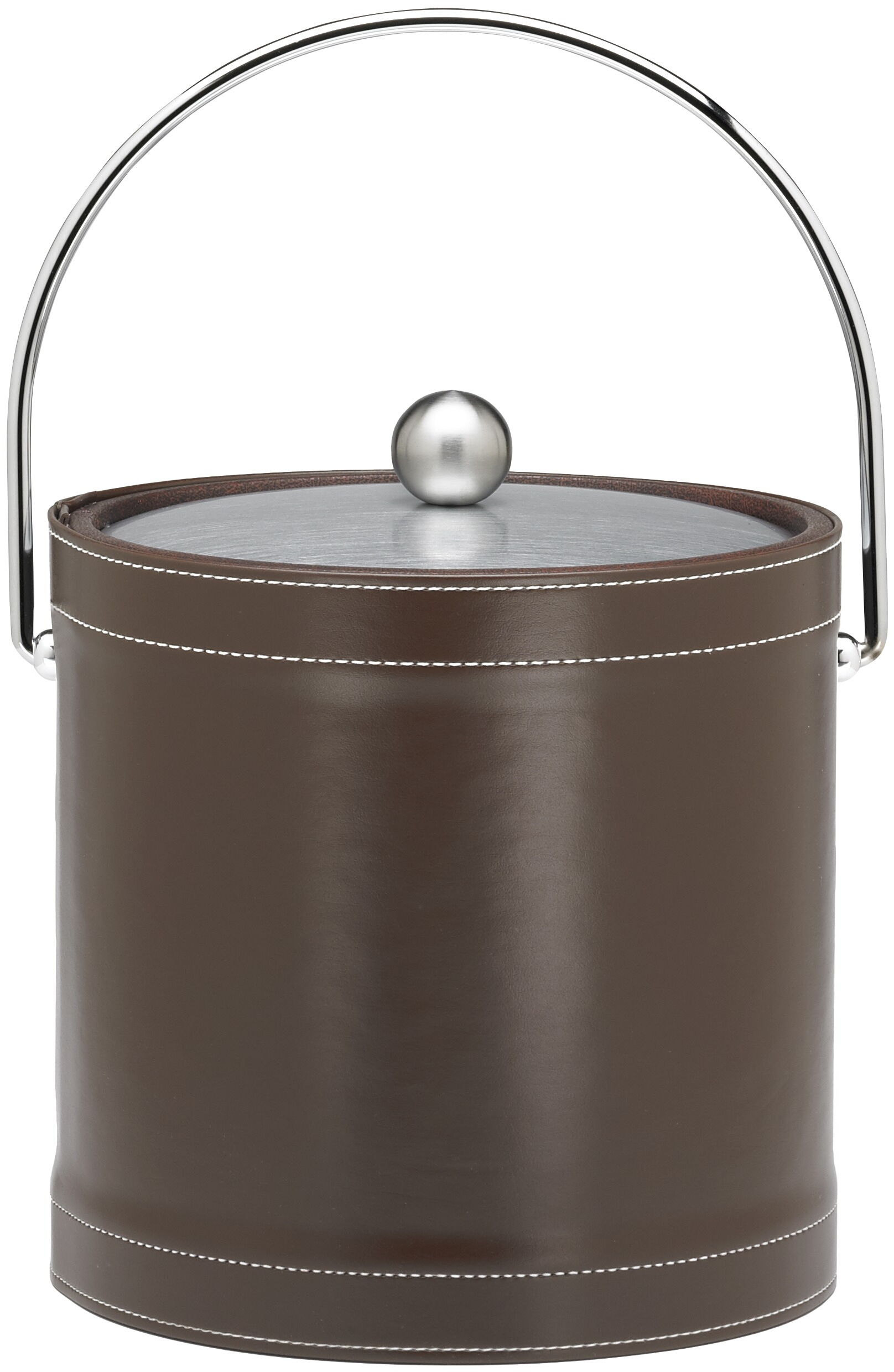 Kraftware Stitched Collection Chocolate Stitched 3 Quart Ice Bucket With Bale Handle