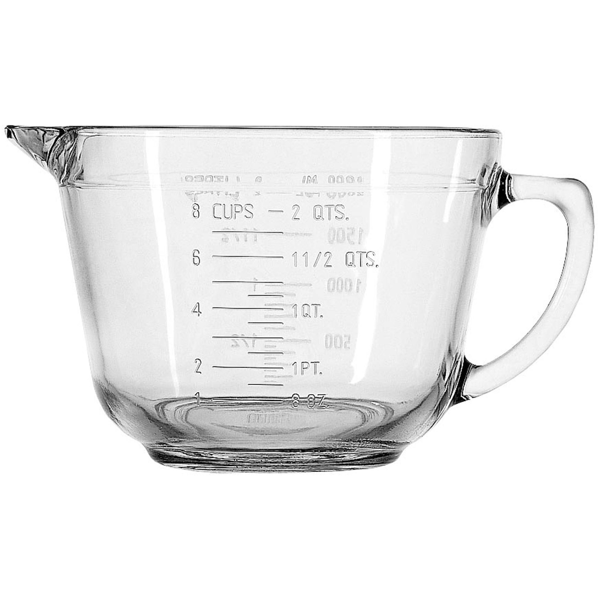Anchor Hocking Glass Batter Measuring Bowl with Handle and Spout, 2 Quart
