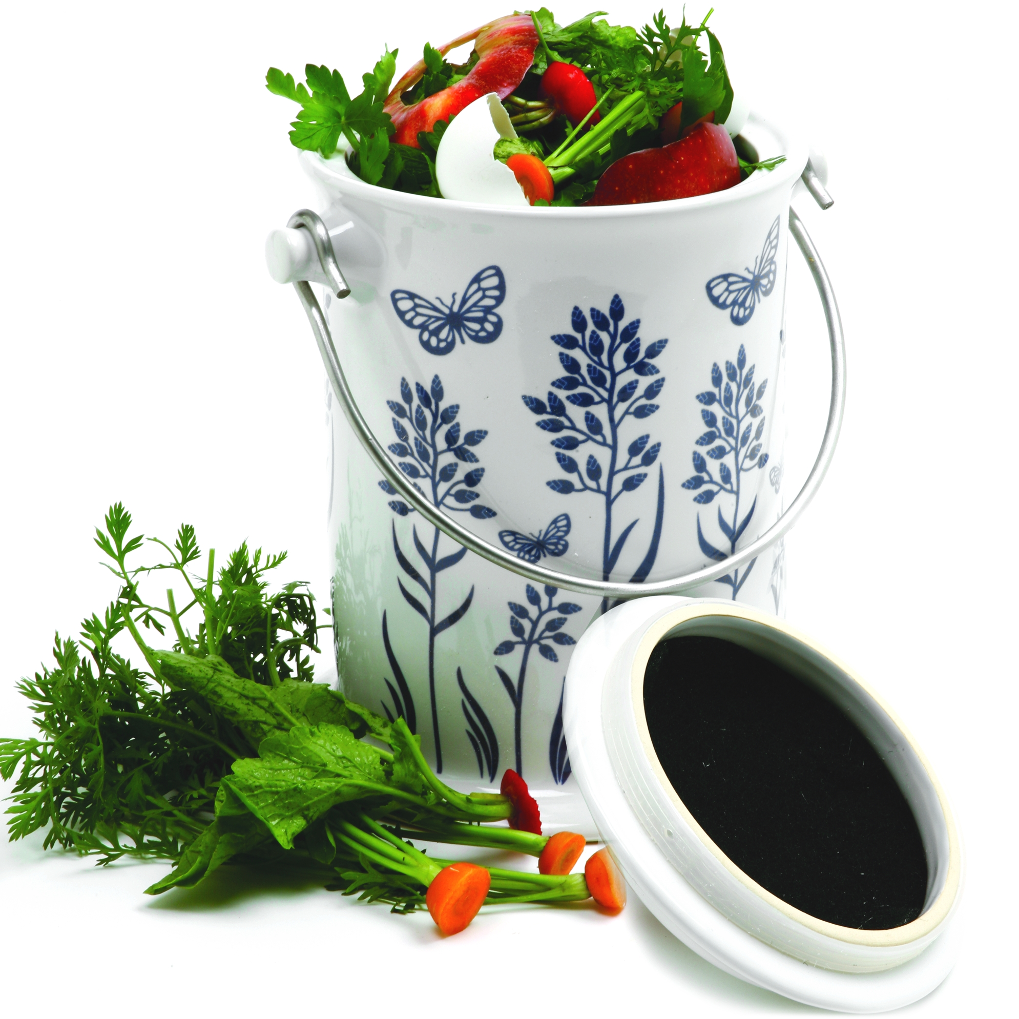 Norpro Blue and White Ceramic Floral Compost Keeper, 3 Quart