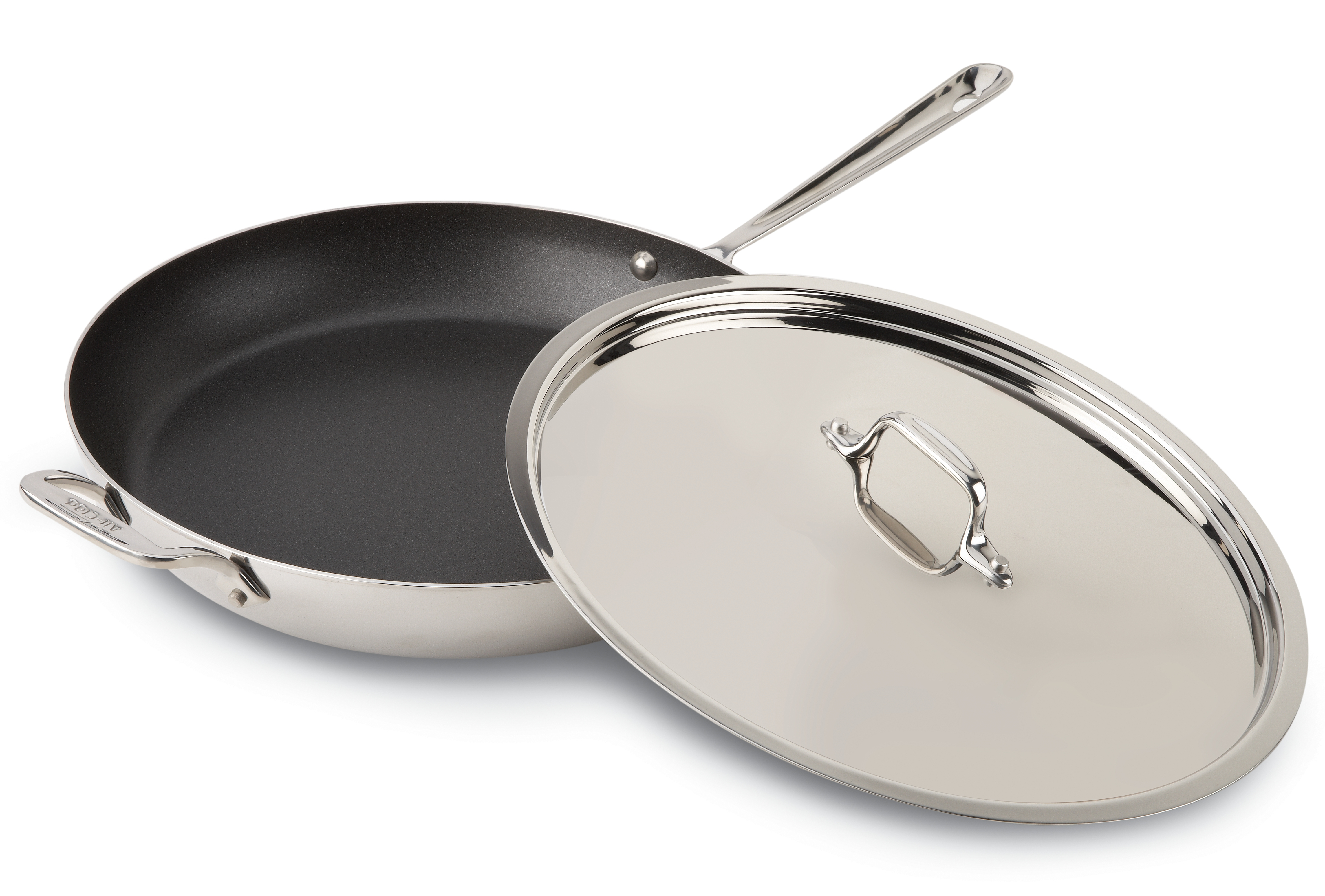 All-Clad 18/10 Stainless Steel Nonstick French Skillet with Loop Handle and Lid, 13 Inch