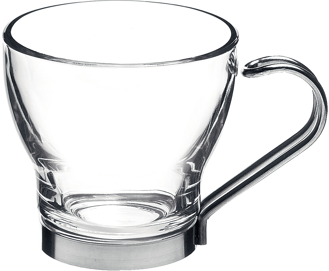 Bormioli Rocco Verdi Glass Espresso Cup with Stainless Steel Handle, Set of 4