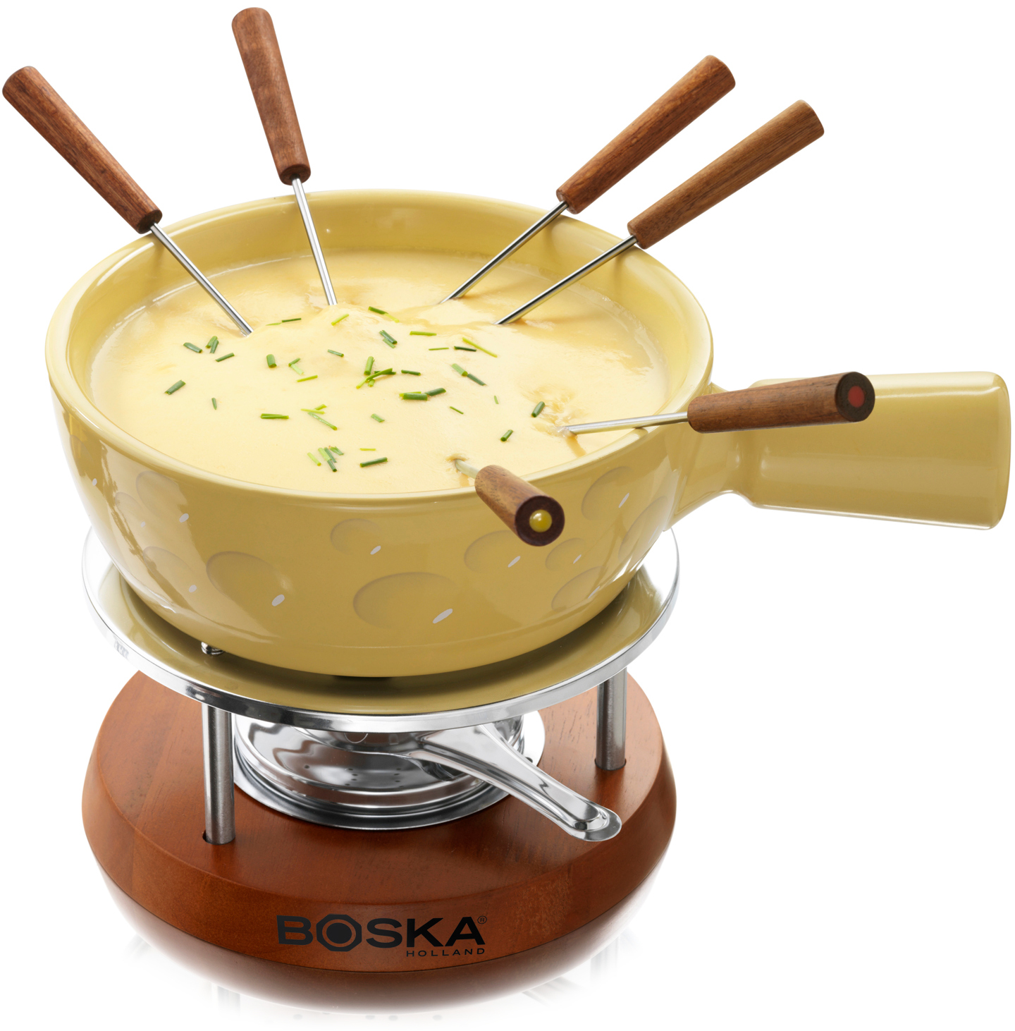 Boska Wood and Stainless Steel Fondue Set With Yellow Pot