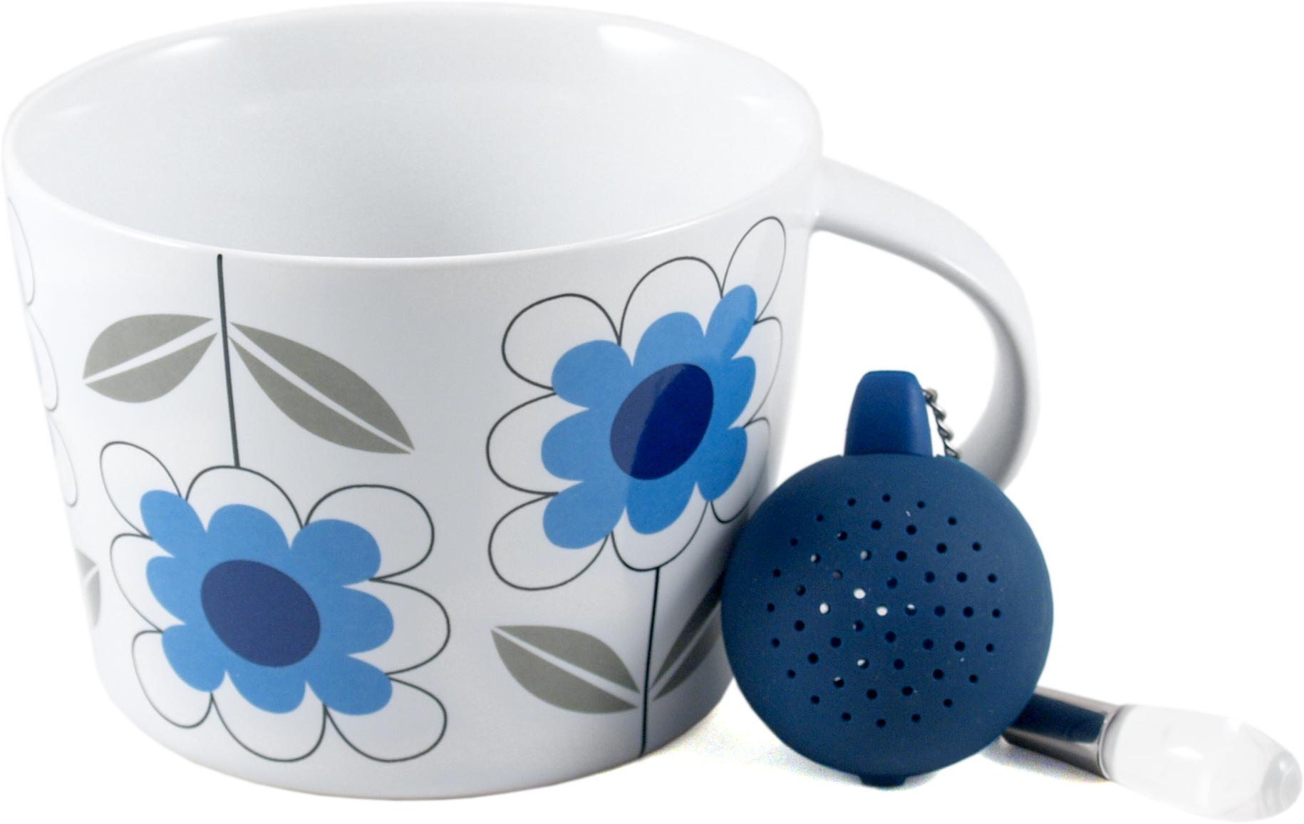 Sagaform White and Blue Stoneware Daisy Tea Set