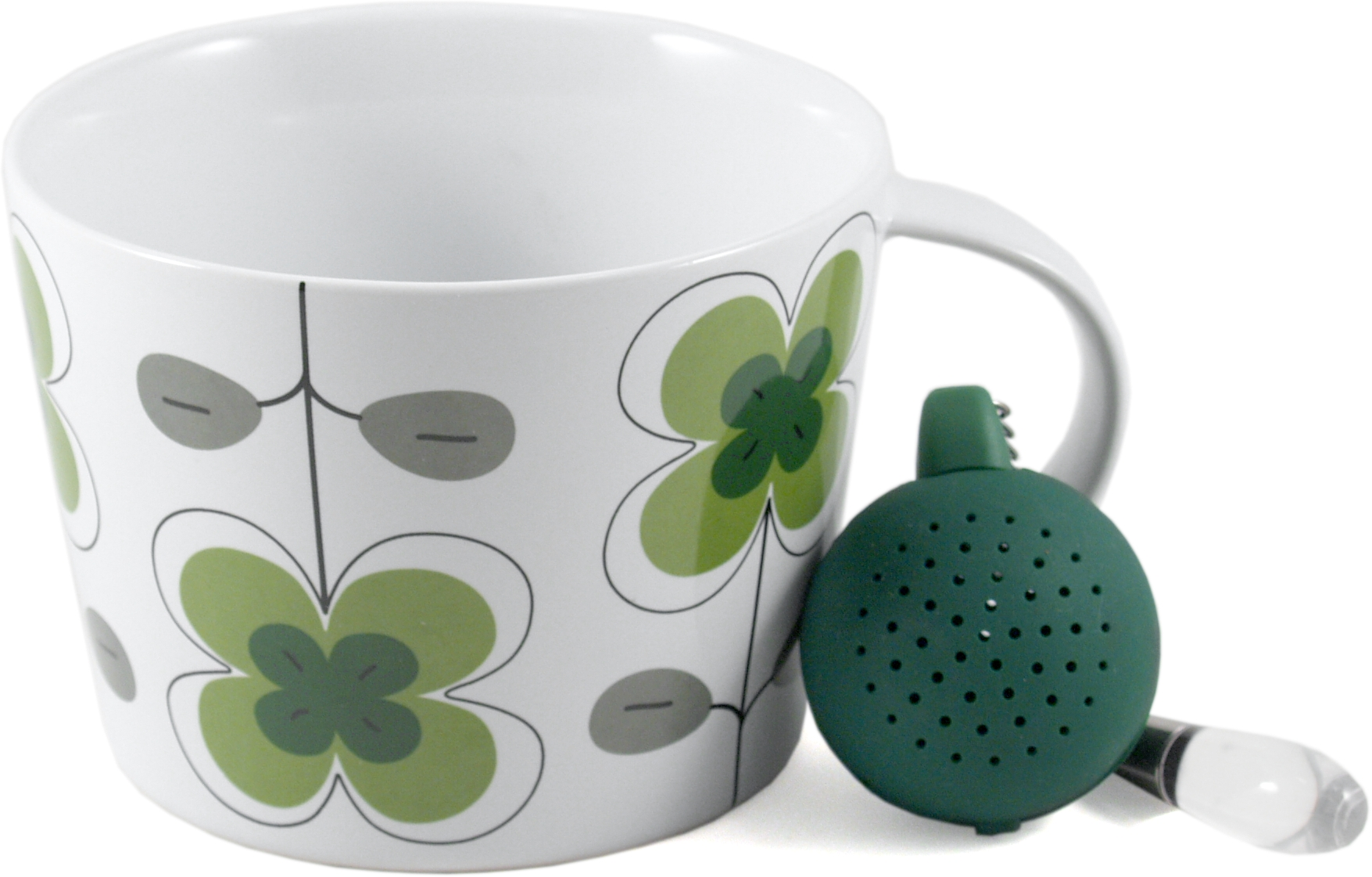 Sagaform White and Green Stoneware Clover Tea Set