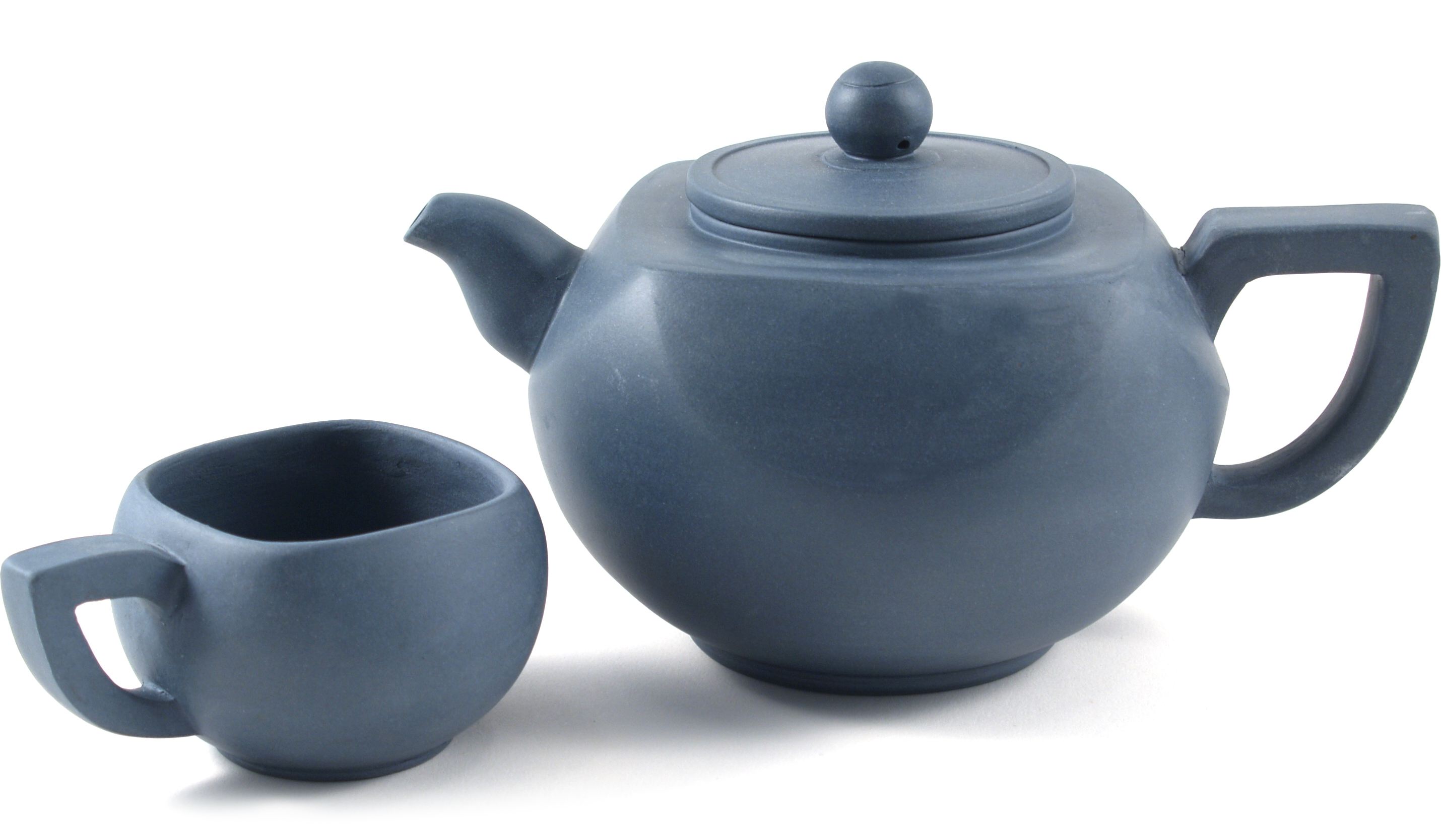 Geometric Teal Yixing Teapot with 4 Teacups, 23 Ounce